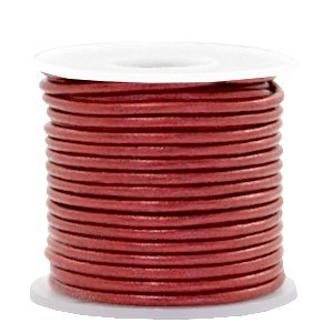 Rood Rond leer Moroccan red metallic 2mm - per meter