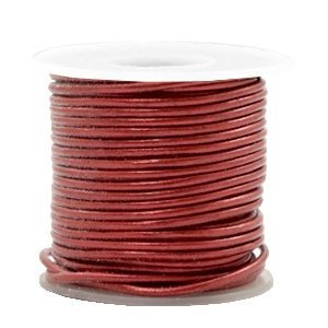 Rood Rond leer Moroccan red metallic 1mm - per meter
