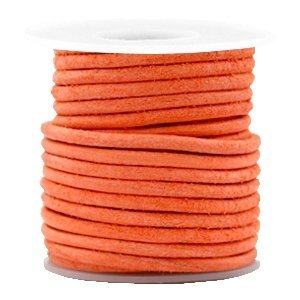 Oranje Rond leer Antique orange 3mm - per meter