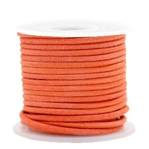 Oranje Rond leer Antique orange 2mm - per meter