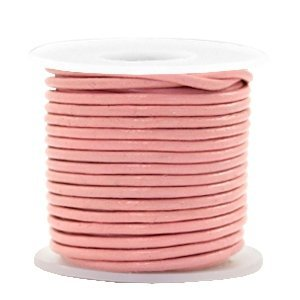 Roze Rond leer Blossom pink metallic 2mm - per meter