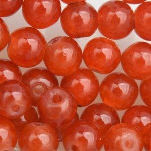 Oranje Crackle glaskralen dark orange 4mm - 50 stuks