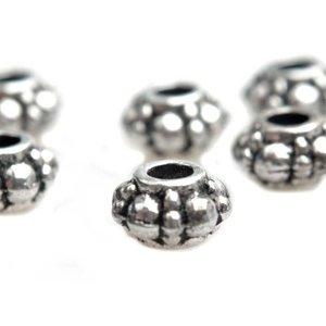 Zilver Kraal spacer dots Zilver 6x4mm - 20 stuks