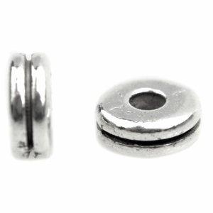 Zilver Kraal spacer disc Zilver 6x2,5mm - 10 stuks