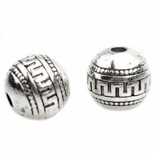 Zilver Kraal greek rond Zilver 9x8,5mm