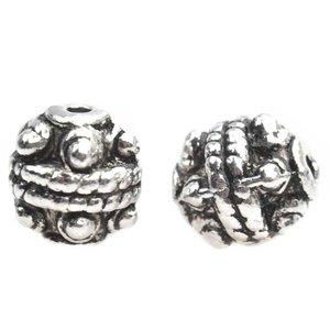 Zilver Kraal spacer dots Zilver 8x7mm - 5 stuks
