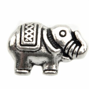 Zilver Kraal olifant Zilver 12,5x8mm - 6 stuks