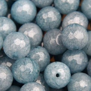 Blauw Edelsteen rond Jade blauw facet 10mm