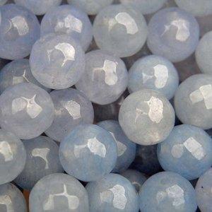 Blauw Edelsteen rond Jade licht blauw facet 10mm