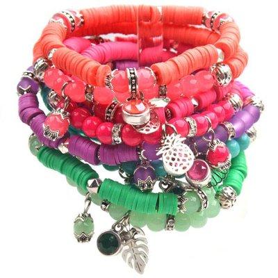 Oranje DIY pakketje Summer discs Orange Pink - 2 armbanden