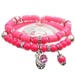 Roze DIY pakketje Summer discs Hot Pink - 2 armbanden