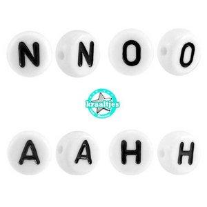 Wit Letterkralen rond letter A- Z  Wit 7mm - 26 stuks