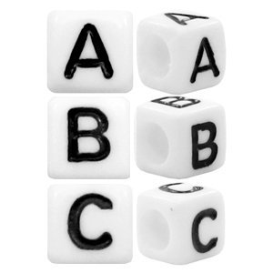 Wit Letterkralen vierkant Ø3,6mm letters A - Z Wit 6mm - 26 stuks
