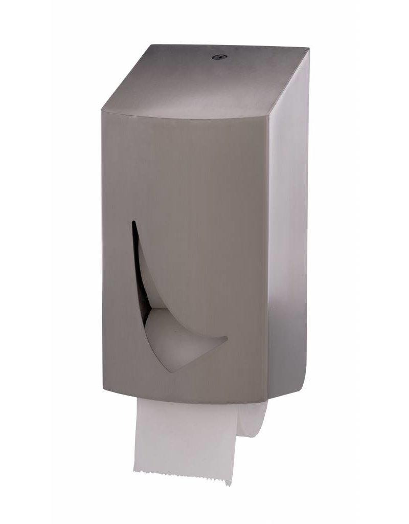 Qbic-line RVS toiletrolhouder voor 2 kokerloze rollen (coreless)