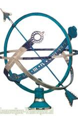 Zonnewijzer globe messing blauw Ø 45 cm