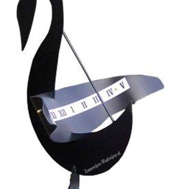 Zonnewijzer zwaan zwart hoogte 66 cm
