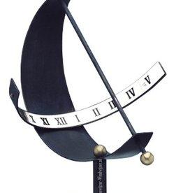 Zonnewijzer halve maan blauw metaal Ø 40 cm