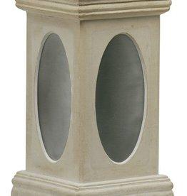 Sokkel geel met RVS platen hoogte 47 cm, beton