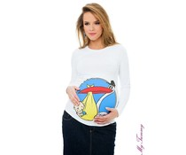 "Maternity Shirt - white - ""Stork"""