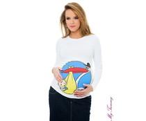 """Zwangerschapsshirt – wit - """"Stork"""""""
