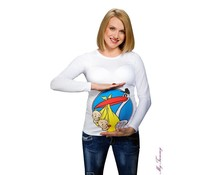 "Maternity Shirt - White ""Twin Stork"""