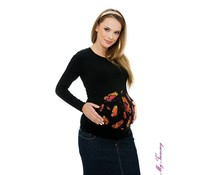 "Maternity Shirt ""Butterflies"" black"