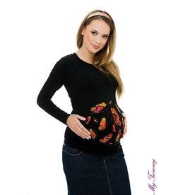 """Zwangerschapsshirt """"Butterflies"""" zwart"""