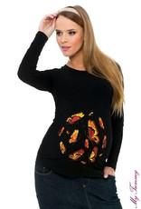 "Shirt de maternité ""Papillons"" - Noir"