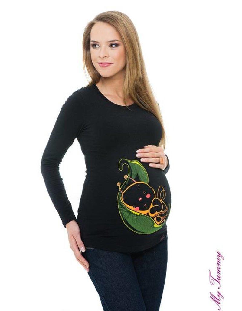 """Zwangerschapsshirt """"Leaf Bee"""" - zwart"""
