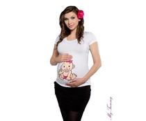 Maternity Shirt - Baby Girl / White