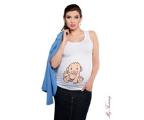 Maternity Top - Babyboy / white