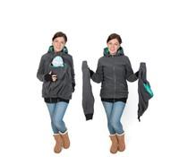LUNA 3in1 Fleece babywearing jacket - Graphite/teal