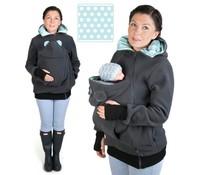 LITTLE BEAR Fleece babywearingvest - grey/mint/dots