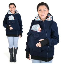 LITTLE BEAR Fleece babywearing jacket - navy/flower pattern