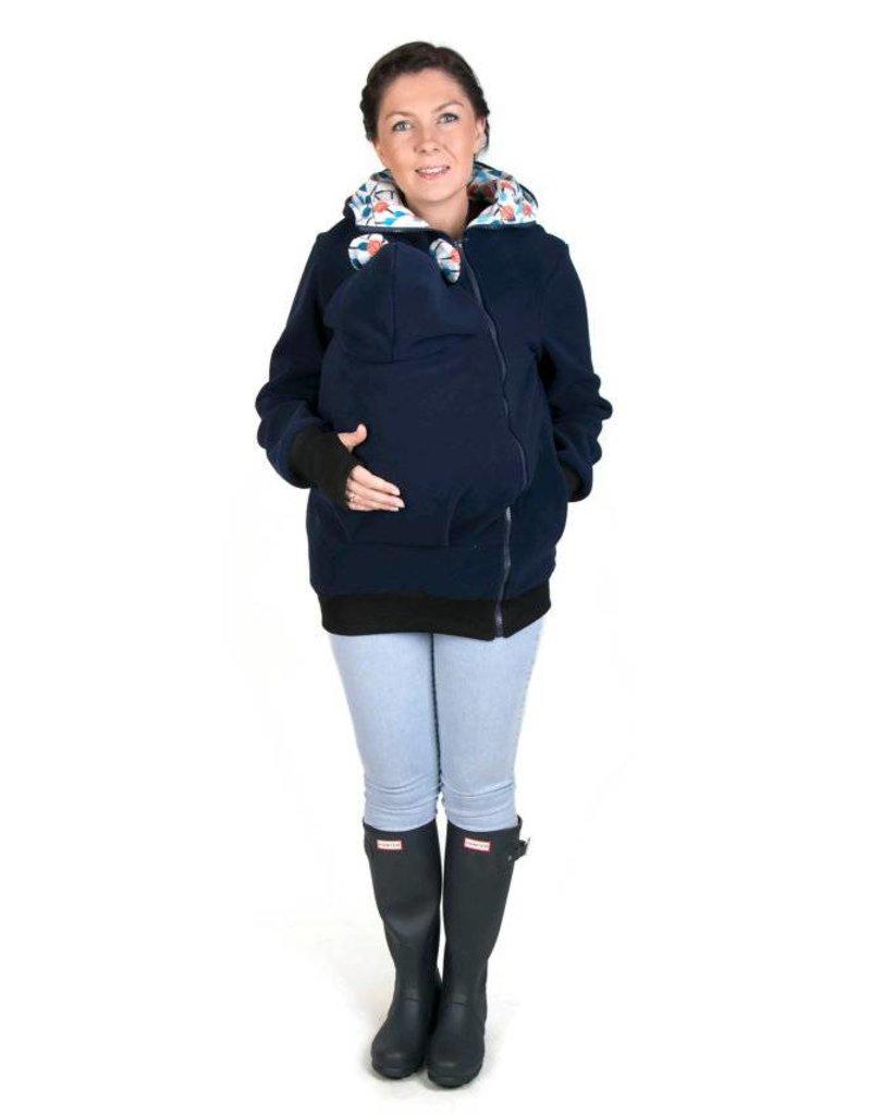 LITTLE BEAR Fleece babywearing jacket - navy/flower pattern