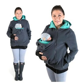 LITTLE BEAR Fleece babywearing vest - graphite/teal