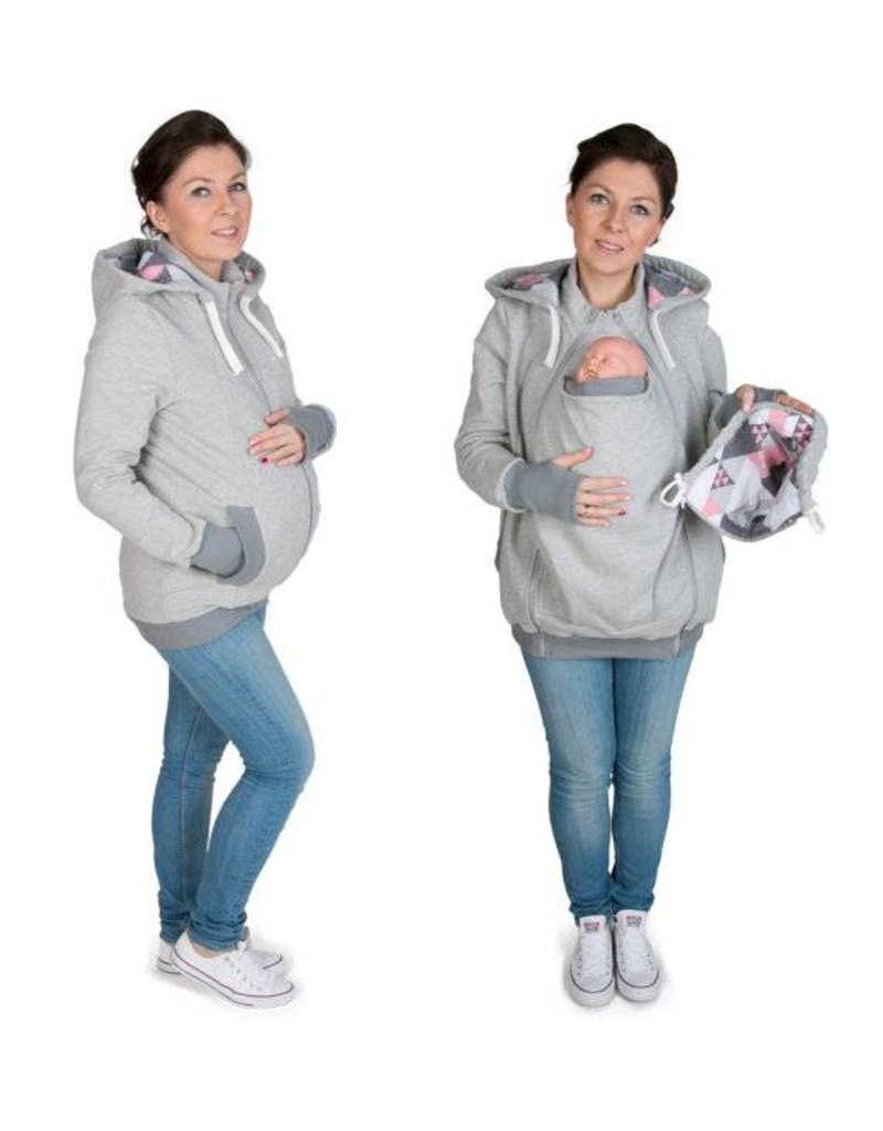 AXEL 3in1 Manteau de portage avec fonction portage au dos - Gris / Coral patern roze