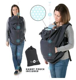 Babywearing cover - Fleece - Graphite/mint/dots