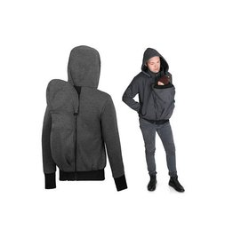 Men babywearing jacket with backwearing function - Graphite / black