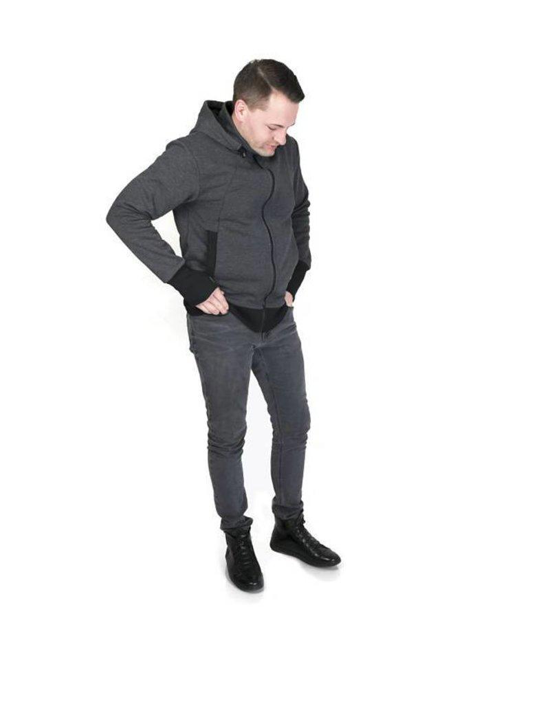Men babywearing jacket with backwearing function - Graphite / black