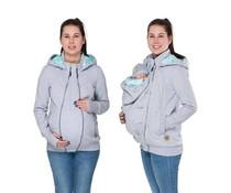 POLA - 3en1 Hoodie/Jacket - gris/menthe/motif feuille