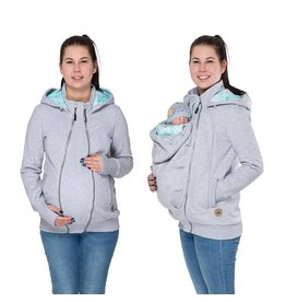 POLA - 3in1 Hoodie / jacket - Grey/mint/leaf motif