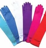 Licht blauwe satijnen handschoenen