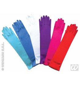 Handschoenen satijn licht blauw