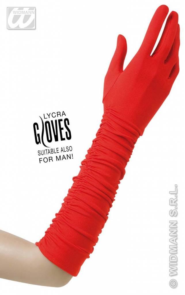 Rode gerimpelde handschoenen