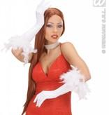 Witte handschoenen met veren
