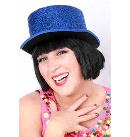 Hoge hoed glitter blauw