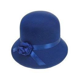 Bolhoed dames met roosje blauw