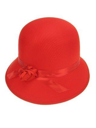 Bolhoed dames met roosje rood