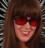 Bril montuur zwart en rode glazen
